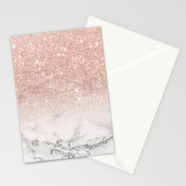 Modern faux rose gold pink glitter ombre white marble Stationery Cards