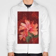 Orange hibiscus and vibrant kaleidoscope Hoody