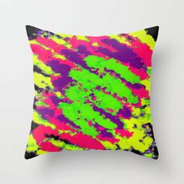 psychedelic splash painting abstract texture in yellow green pink purple black Throw Pillow