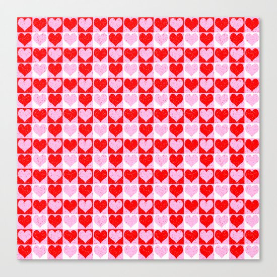 Love Heart Red Pink and White Check Pattern Canvas Print