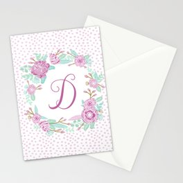 Monogram D - cute girls purple florals flower wreath, lilac florals, baby girl, baby blanket Stationery Cards