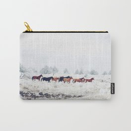 Winter Horse Herd Carry-All Pouch