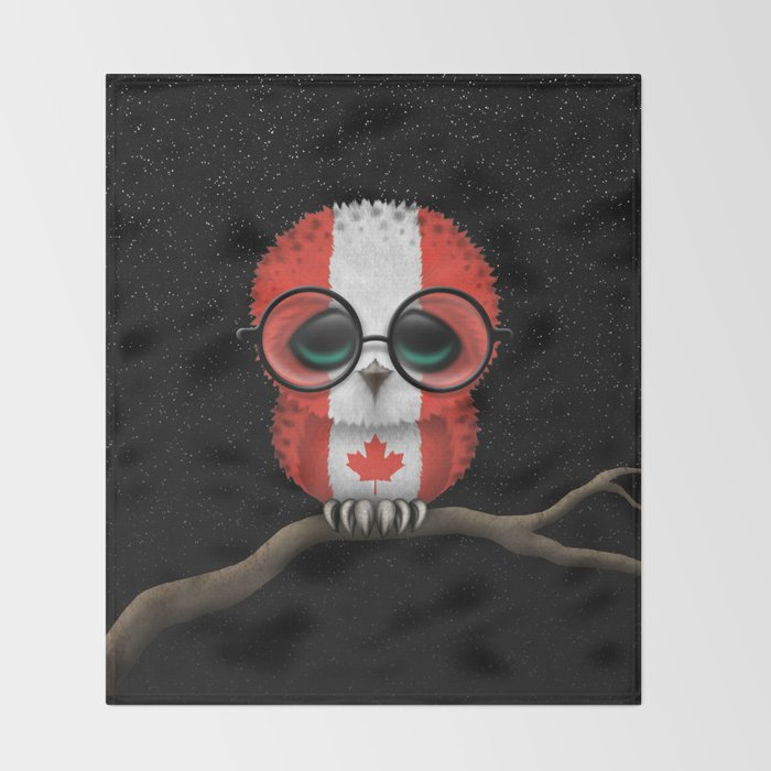 Baby Owl with Glasses and Canadian Flag Throw Blanket