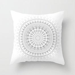 Light Grey White Mandala Throw Pillow