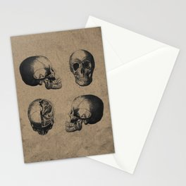 Skull View - Antique Vintage Style Medical Etching Stationery Cards