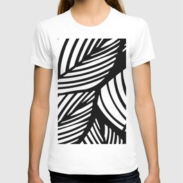 Artistic Black And White Overlapping Leaves Abstract T-shirt