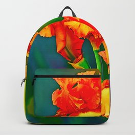 Electrified Orange Iris in the Garden Backpack