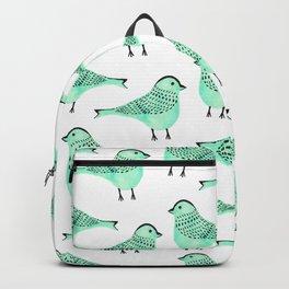 Cute modern green watercolor artistic birds pattern Backpack
