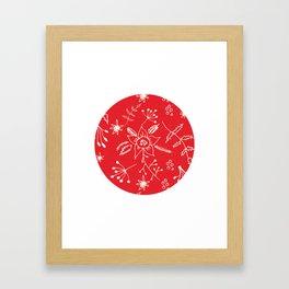 Winter Floral Red Framed Art Print