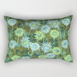 Gillian Floral Green Rectangular Pillow