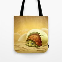 sea turtle Tote Bags featuring turtle by Antracit