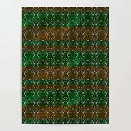 Foil Flower in Green and Gold Poster