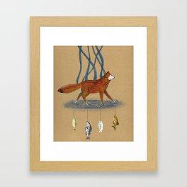 Fox and Fish Framed Art Print