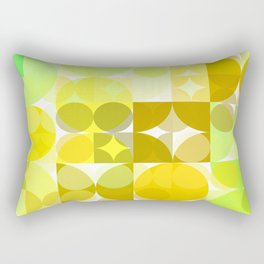 Pale Yellow Poinsettia 1 Abstract Circles 3 Rectangular Pillow