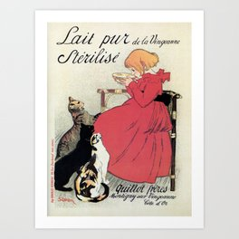 Vintage Art nouveau French milk advertising, cats, girl Art Print