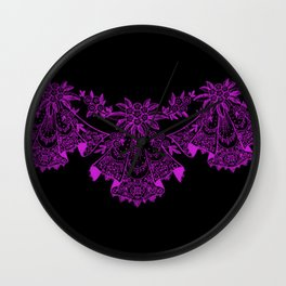 Vintage Lace Hankies Black and Dazzling Violet Wall Clock