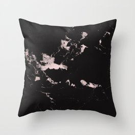 Black Marble and Blush Pink #1 #decor #art #society6 Throw Pillow