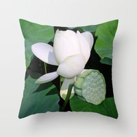 lotus flower Throw Pillows featuring Lotus. by Assiyam