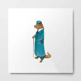 Otter in suit Metal Print