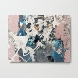 Breaker of Chains: a colorful abstract with white pink blue gray and gold Metal Print