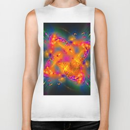 Butterfly in a radioactive explosion Biker Tank