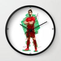 ronaldo Wall Clocks featuring Football Legends: Cristiano Ronaldo - Portugal by Akyanyme
