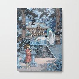 Haku and Chihiro at the Shrine Metal Print
