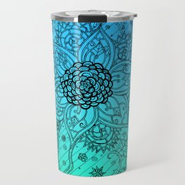 Flower Zen: Blue-Green Fade Travel Mug