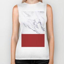 White Marble Red Hot Striped Biker Tank