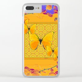 Golden Yellow Butterflies Orchid Sprays Purple Lilac Patterns Clear iPhone Case
