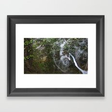 Through the wood line. Framed Art Print