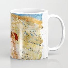 Aquarelle sketch art. Lonely dog watching on Gibraltar strait Coffee Mug