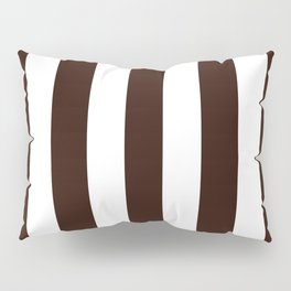 Root beer black - solid color - white vertical lines pattern Pillow Sham