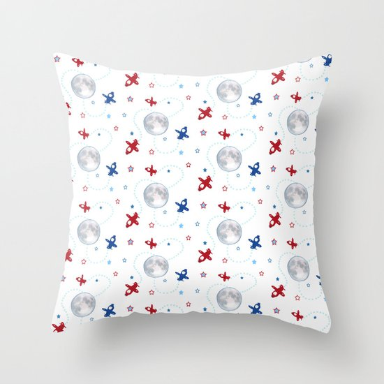 Little Toy Airplanes on White Throw Pillow