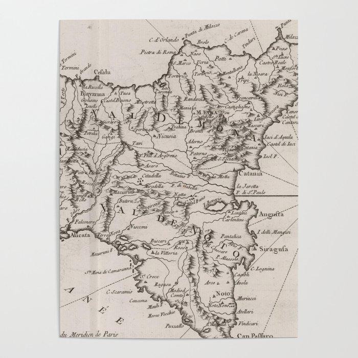 Vintage Map of Sicily Italy (1764) Poster by bravuramedia
