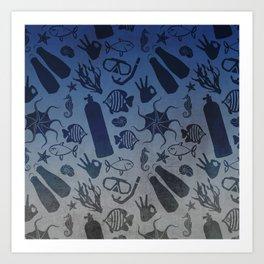 Scuba Dive Underwater Pattern Art Print