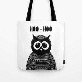 Black and white owl. Modern art. Abstract cute bird. Night animal. Hoo hoo Tote Bag