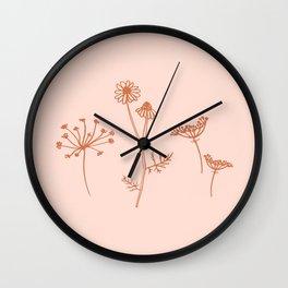 Wildflower Line Art Wall Clock