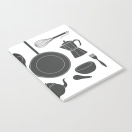 Kitchen Tools (black on white) Notebook