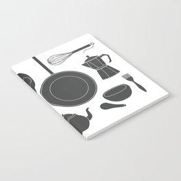 Kitchen Tools (black on white) Notebook