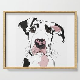 Great Dane Dog (b/w/pink) Serving Tray