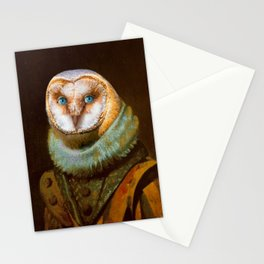Animals - Funny Owl Painting Stationery Cards