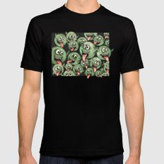 Green Graffiti Creatures Black Mens Fitted Tee SMALL