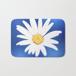 Royal Blue Yellow White Daisy Flower Photography, Bright Colorful Nature Photo Bath Mat