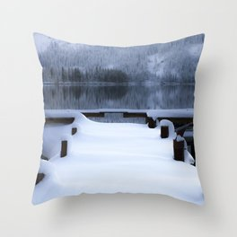 Frozen Dock Donner Lake Throw Pillow