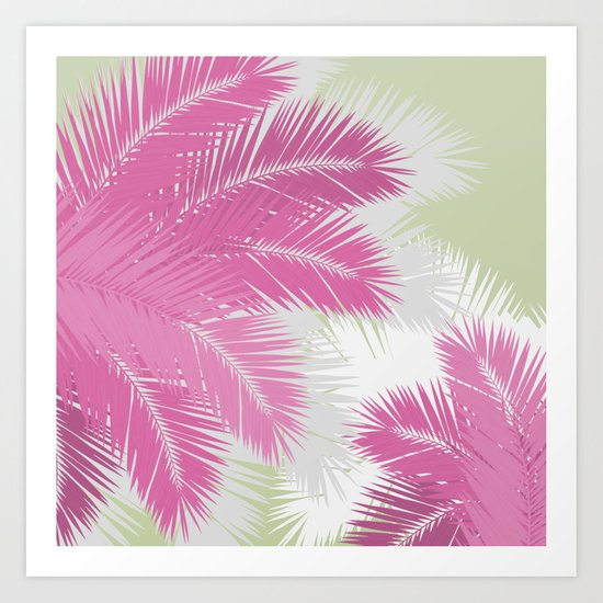 PINK TROPICAL PALM TREES Art Print