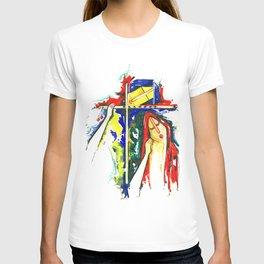 Lord Krishna & Radha - Handmade Water Color Artwork T-shirt