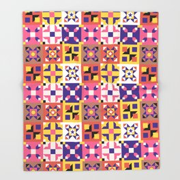 Maroccan tiles pattern with pink and purple no3 Throw Blanket