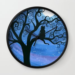 Meowing at the moon - moonlight cat painting Wall Clock