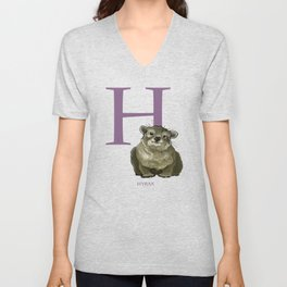 H is for Hyrax: Under Appreciated Animals™ ABC nursery kids room decor yellow unusual animals Unisex V-Neck